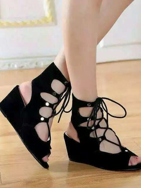 Latest Women's Suede Wedge Heel Peep Toe With Lace-up Sandal Ankle Black Boots