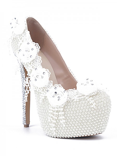 Latest Women's Patent Leather Stiletto Heel Closed Toe With Pearl White Wedding Shoes