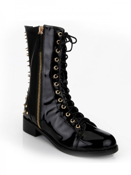 Latest Women's Kitten Heel Closed Toe Patent Leather With Rivet Mid-Calf Black Boots