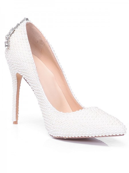 Latest Women's Closed Toe Patent Leather Stiletto Heel With Pearl Rhinestone High Heels