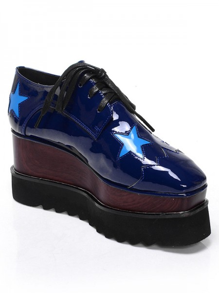 Latest Women's Patent Leather Platform Closed Toe Wedge Heel With Lace-up Dark Navy Fashion Sneakers