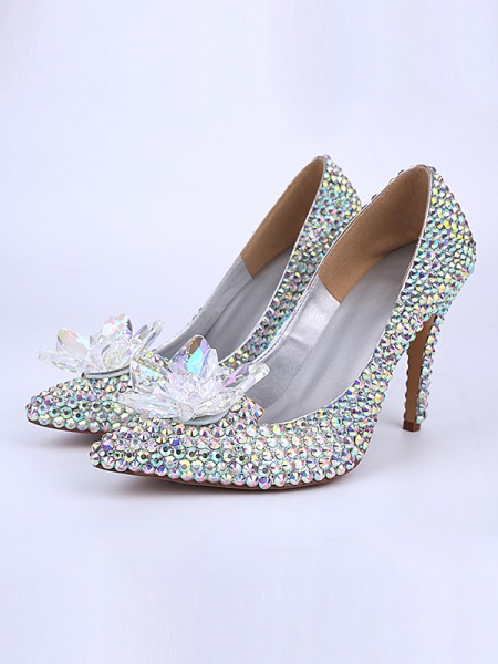 Latest Women's Patent Leather Cone Heel Closed Toe With Crystal Flower High Heels