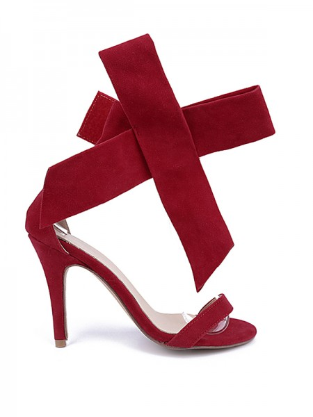 Latest Women's Suede Peep Toe Stiletto Heel With Bowknot Party Sandal High Heels