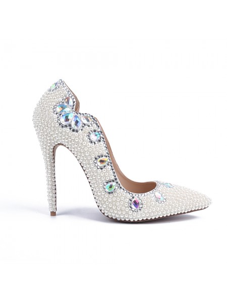 Latest Women's Stiletto Heel Patent Leather Closed Toe With Pearl White Wedding Shoes