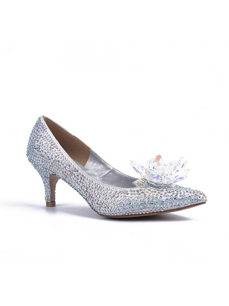 Latest Women's Closed Toe Cone Heel With Crystal Flower Silver Wedding Shoes
