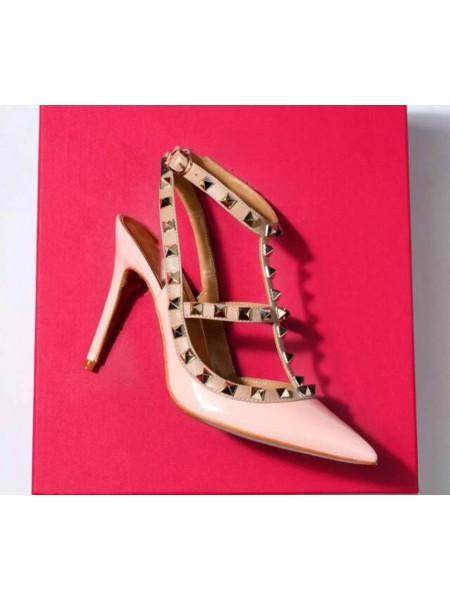 Latest Women's Closed Toe Patent Leather Stiletto Heel With Rivet Sandals Shoes
