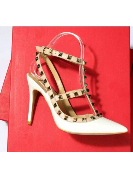 Latest Women's Patent Leather Closed Toe Stiletto Heel With Rivet Sandals Shoes