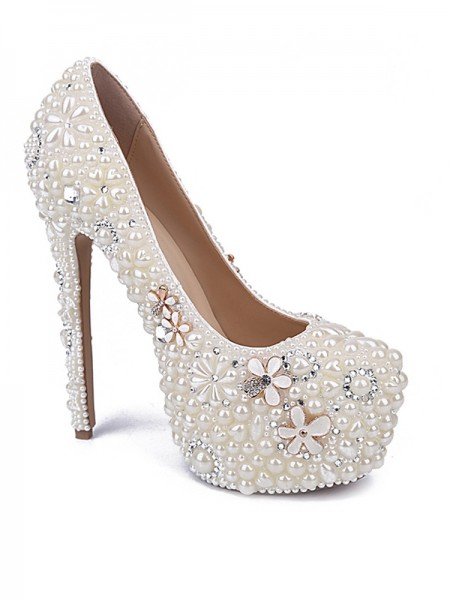 Latest Women's Patent Leather Closed Toe Stiletto Heel With Pearl Rhinestone White Wedding Shoes