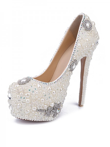 Latest Women's Stiletto Heel Patent Leather Closed Toe With Pearl Rhinestone White Shoes