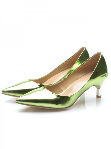 Latest Women's Green Patent Leather Closed Toe Cone Heel High Heels