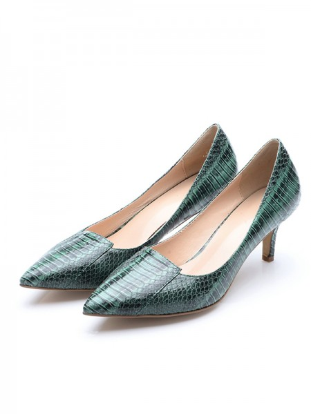 Latest Women's Closed Toe Cone Heel Patent Leather With Crocodile Print High Heels
