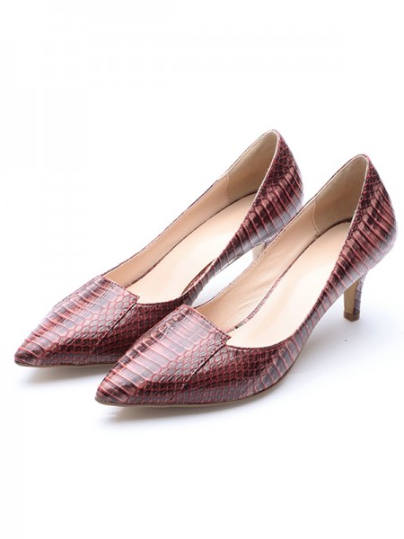 Latest Women's Patent Leather Closed Toe Cone Heel With Crocodile Print High Heels