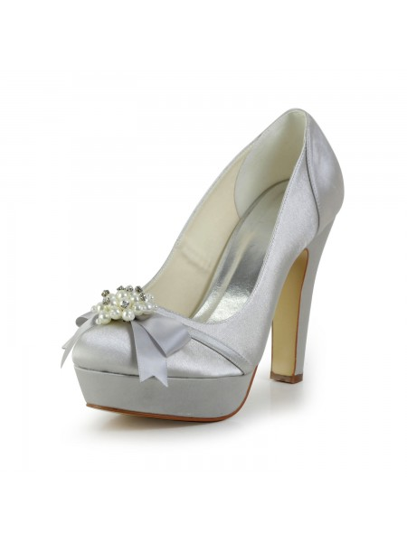 Latest Women's Satin Chunky Heel Closed Toe Platform Silver Wedding Shoes With Bowknot