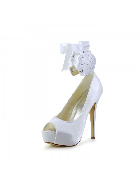 Latest Women's Satin Peep Toe Stiletto Heel With Bowknot White Wedding Shoes