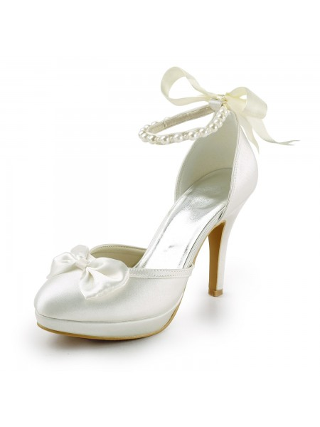 Latest Women's Satin Stiletto Heel Closed Toe Platform Pumps White Wedding Shoes With Bowknot