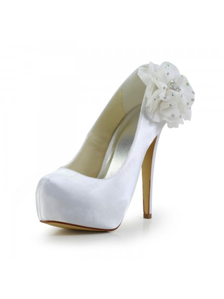 Latest Women's Satin Stiletto Heel Closed Toe Platform White Wedding Shoes With Rhinestone