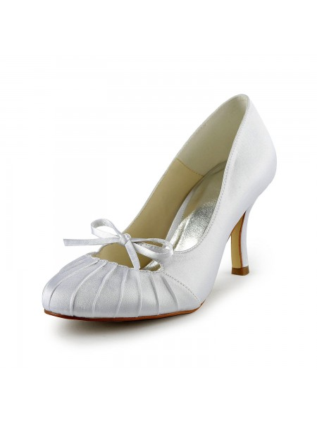 Latest Women's Satin Stiletto Heel Closed Toe Pumps White Wedding Shoes With Bowknot Ruched