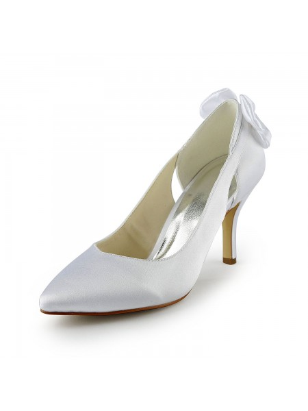 Latest Women's Satin Stiletto Heel Pumps With Hollow-out White Wedding Shoes