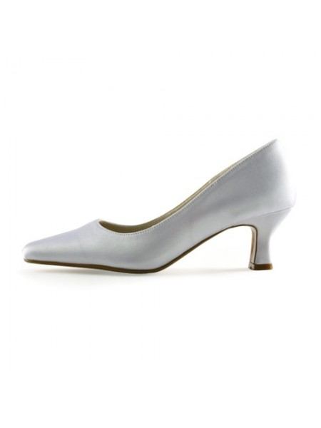 Latest Women's Satin Upper Chunky Heel Pointed Toe White Wedding Shoes