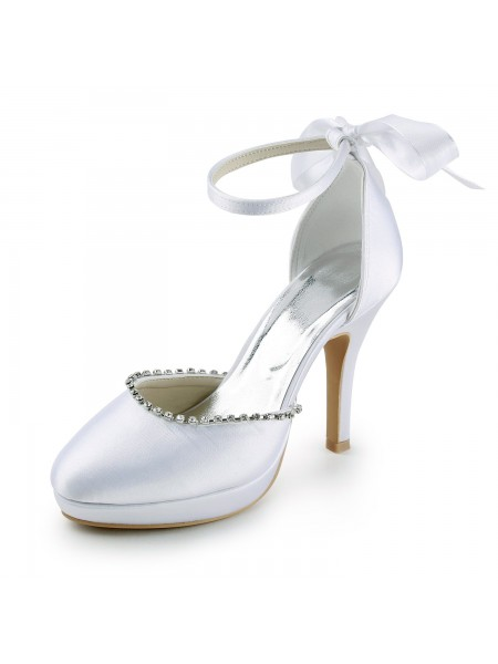 Latest Women's Satin Stiletto Heel Closed Toe with Rhinestones White Wedding Shoes
