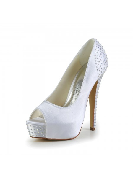 Latest Women's Satin Stiletto Heel Peep Toe Platform White Wedding Shoes With Rhinestone