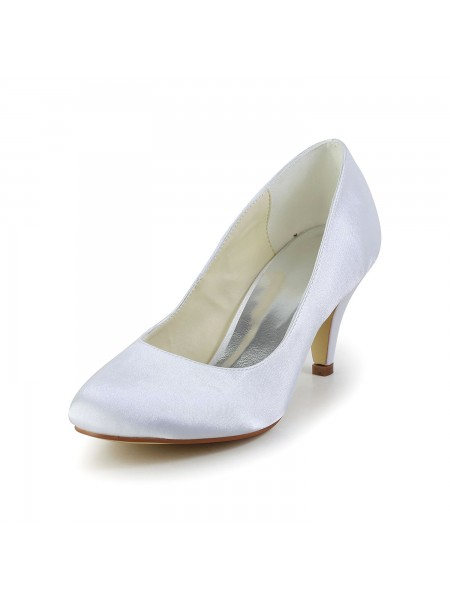 Latest Women's Simples Satin Cone Heel Closed Toe White Wedding Shoes