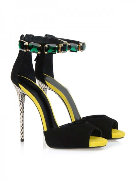 Latest Women's Suede Peep Toe Stiletto Heel Platform With Crystal Sandals Shoes
