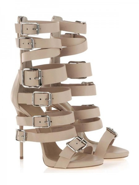 Latest Women's Stiletto Heel Suede Peep Toe Platform With Buckle Sandal Mid-Calf Champagne Boots