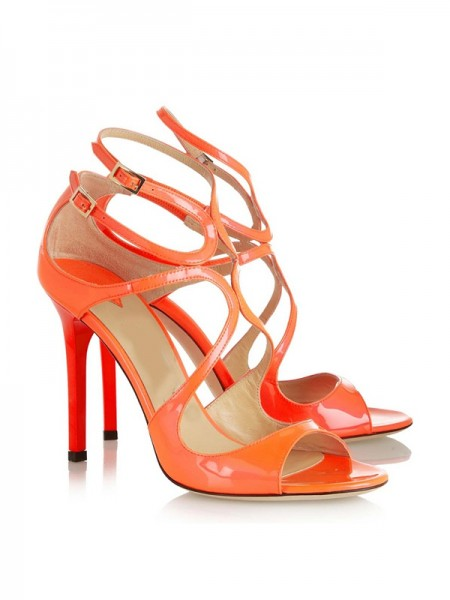Latest Women's Peep Toe Patent Leather Stiletto Heel With Buckle Sandals Shoes