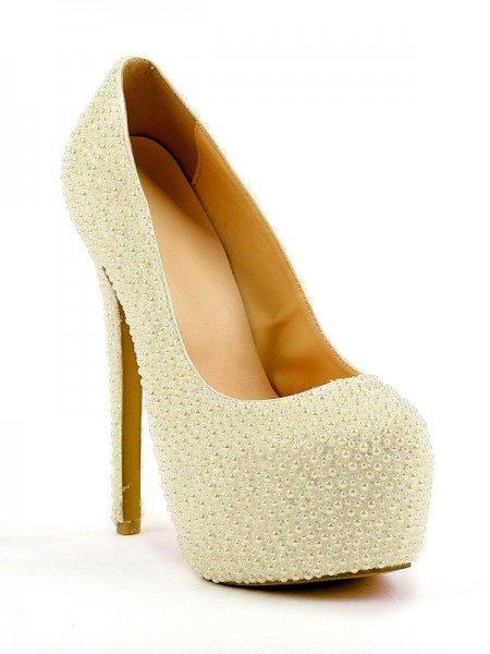Latest Women's Stiletto Heel Closed Toe Platform With Pearl High Heels