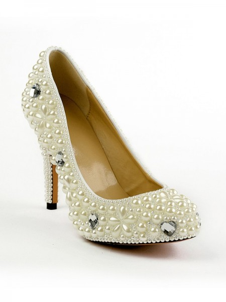 Latest Women's Patent Leather Closed Toe Stiletto Heel Platform With Pearl Ivory Wedding Shoes