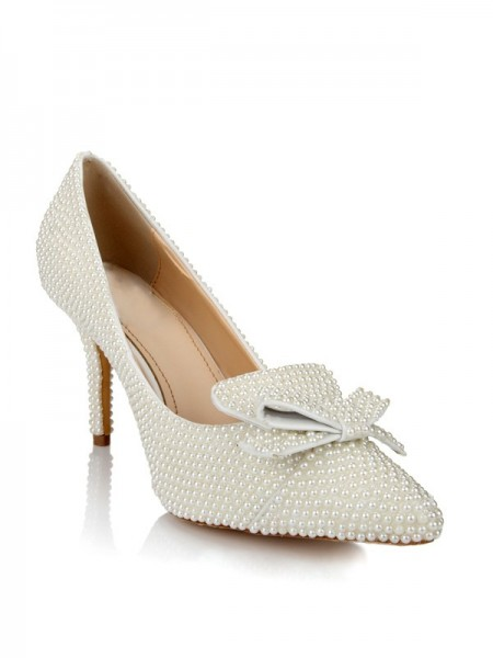 Latest Women's Patent Leather Stiletto Heel Closed Toe With Pearl Bowknot White Wedding Shoes