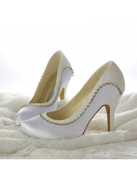 Latest Women's Stiletto Heels Closed-toe Beading White Wedding Shoes