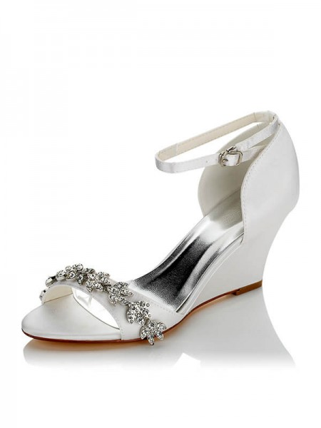 Latest Women's Satin PU Peep Toe Wedge Heel Wedding Shoes