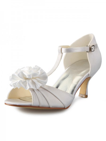 Latest Women's Satin Stiletto Heel T-Strap Peep Toe With Flower Dance Shoes