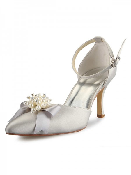 Latest Women's Spool Heel Satin Closed Toe With Pearl Bowknot White Wedding Shoes