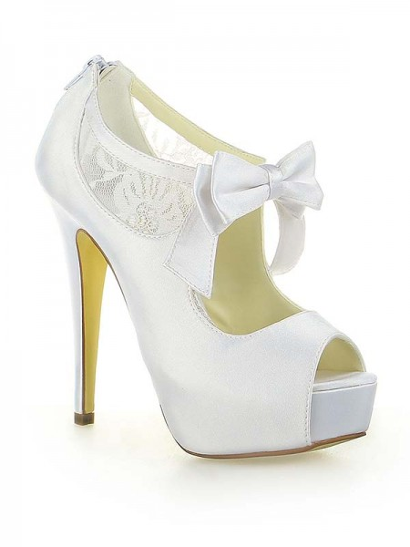 Latest Women's Satin Lace Platform Peep Toe With Bowknot Stiletto Heel White Wedding Shoes