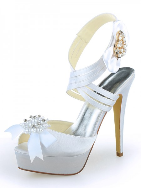 Latest Women's Satin Peep Toe Platform Stiletto Heel With Pearl White Wedding Shoes