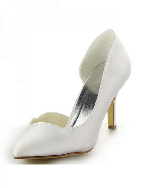 Latest Women's Satin Closed Toe Stiletto Heel White Wedding Shoes