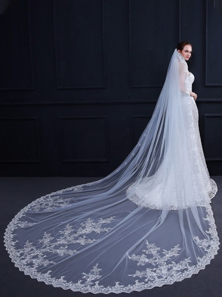 Graceful Tulle One-Tier With Applique Cathedral Bridal Veils