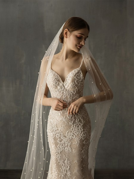 Fashion Gorgeous Tulle One-Tier With Imitation Pearl Chapel Bridal Veils