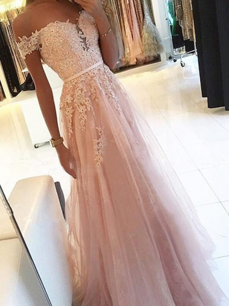 A-Line/Princess Off-the-Shoulder Sleeveless Floor-Length Applique Tulle Dresses