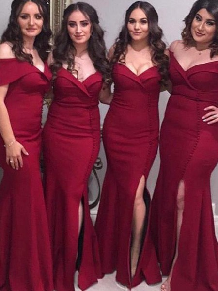 Sheath/Column Off-the-Shoulder Sleeveless Floor-Length Ruched Satin Bridesmaid Dresses