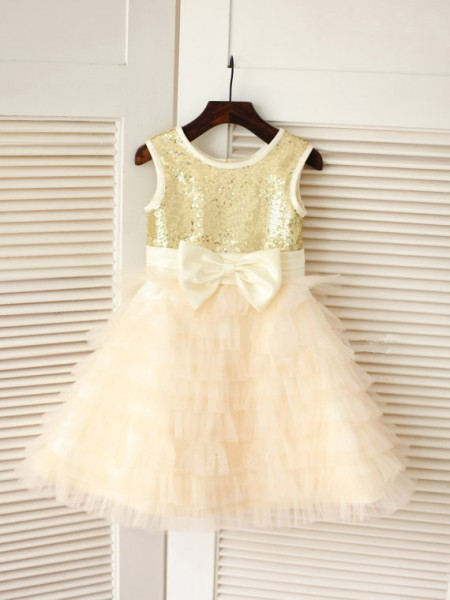 A-Line Scoop Bowknot Tulle Dresses