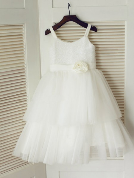 A-Line Spaghetti Straps Hand-Made Flower Tulle Dresses