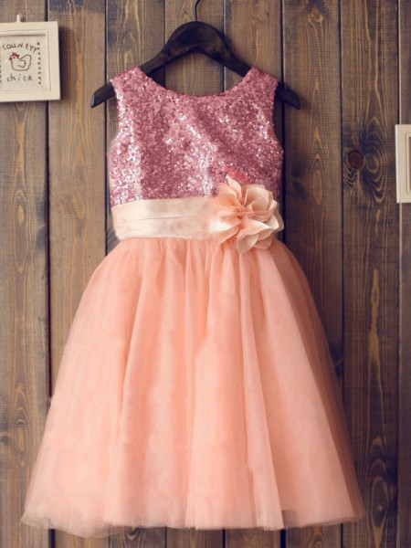 A-Line Scoop Sequin Tulle Dresses