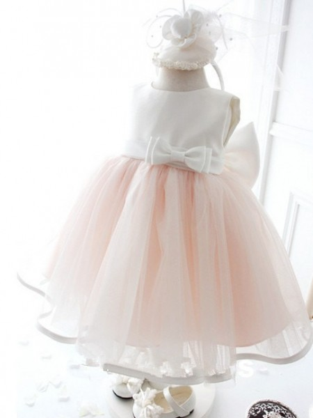 Jewel Bowknot Knee-Length Organza Ball Gown Dresses