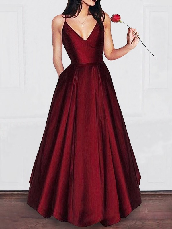 A-Line V-neck Floor-Length Ruffles Satin Prom Dresses