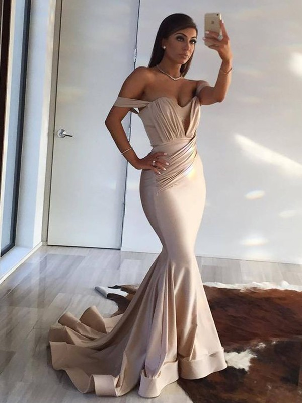 Mermaid Off-the-Shoulder Brush Train Champagne Satin Prom Dresses