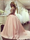 Ball Gown Long Sleeves Off-the-Shoulder Beading Satin Floor-Length Dresses